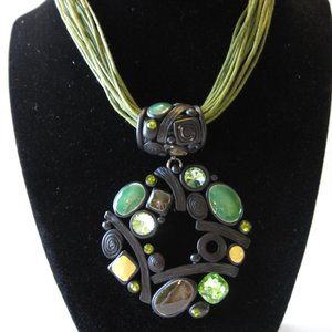 Modern Abstract Green Cord Choker Necklace
